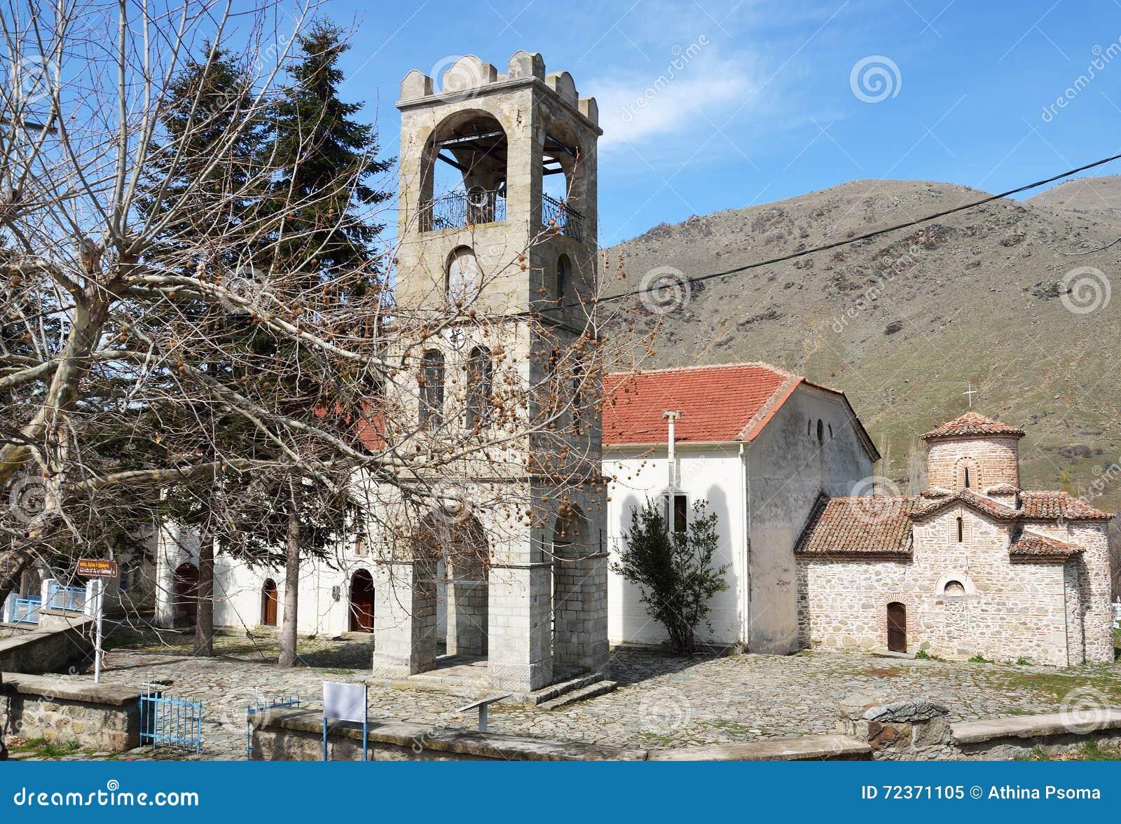 贴水Germanos教会在贴水Germanos村庄的在Prespes, G