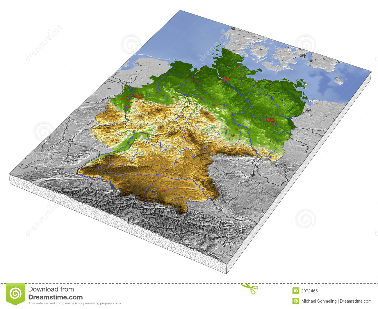 germany 3d relief map stock illustration illustration of chart 2972465