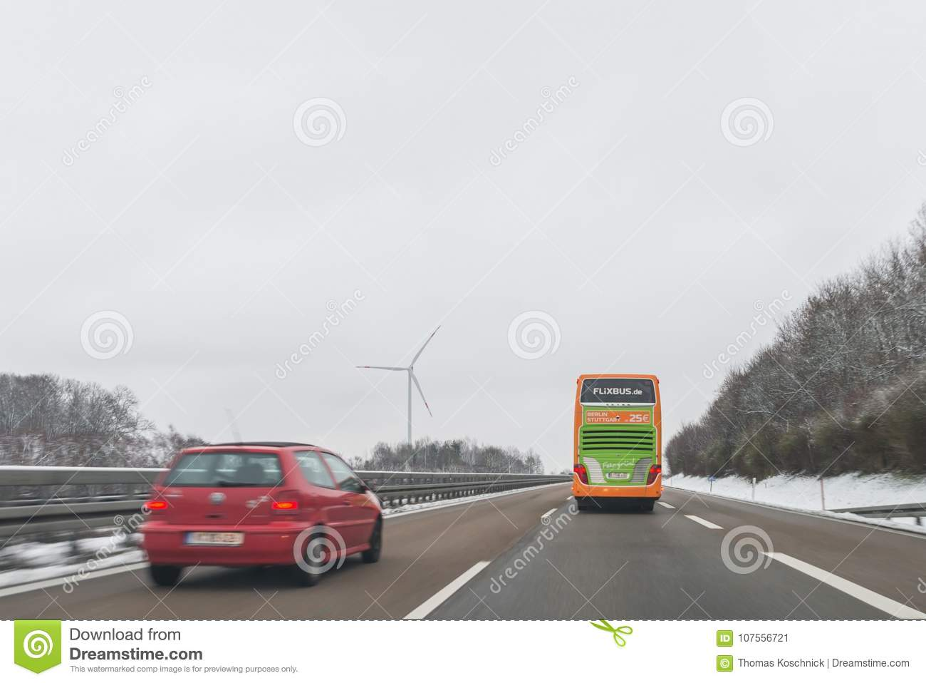 Flixbus Bus and cars on the autobahn A6 direction to Nürnberg, Germ