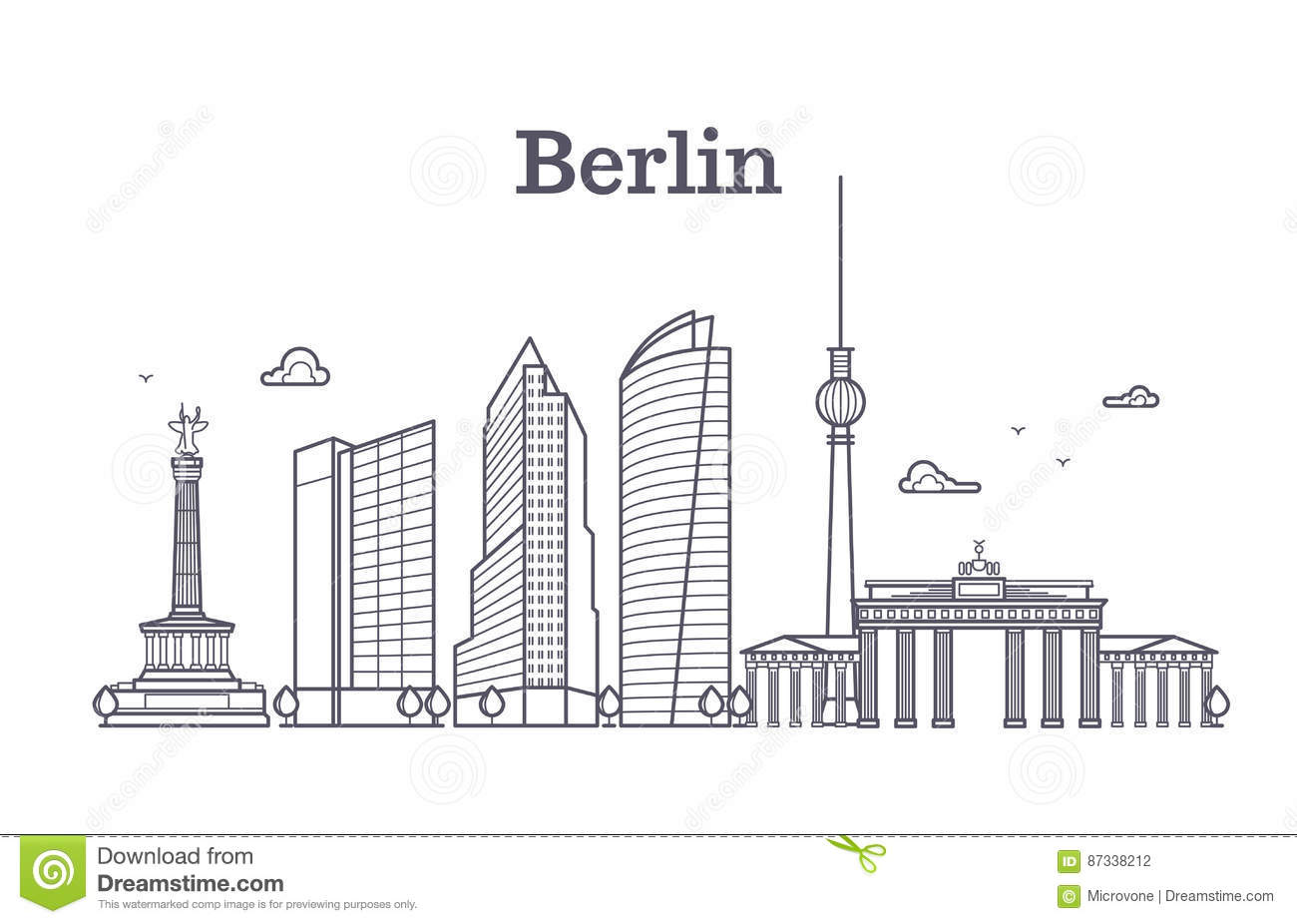 Germany Berlin Line Vector Landscape, City Panoramic ...
