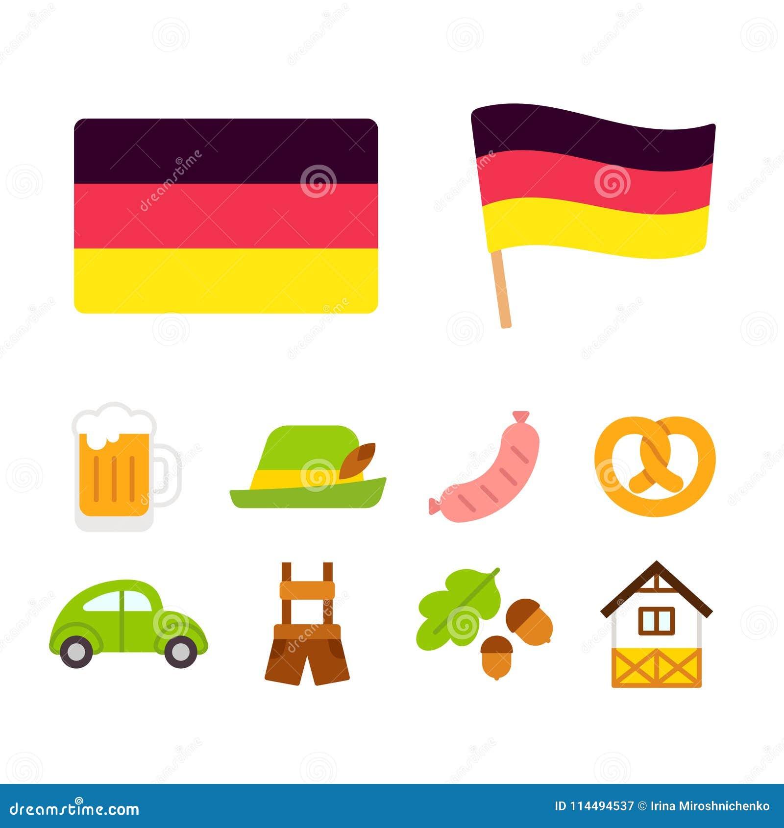 Germany Cartoon Icons Set Stock Vector Illustration Of Icon 114494537