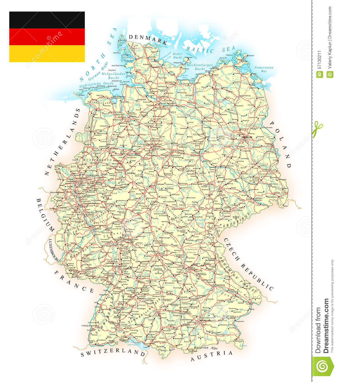 Germany - Detailed Map - Illustration. Stock Vector - Illustration ...