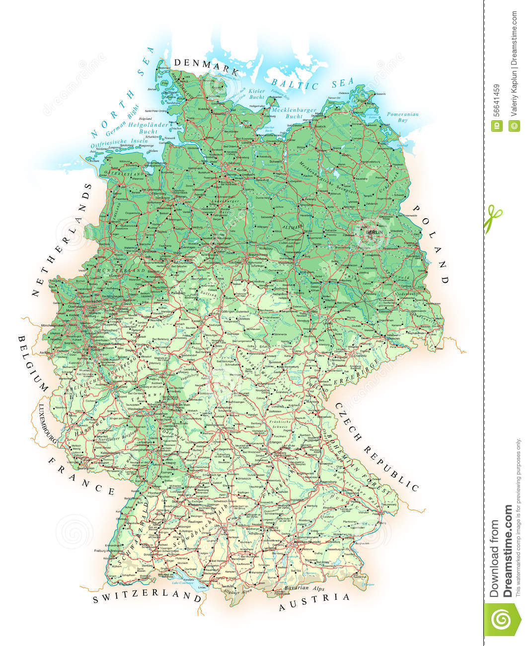 Germany Detailed Topographic Map Illustration Stock Vector