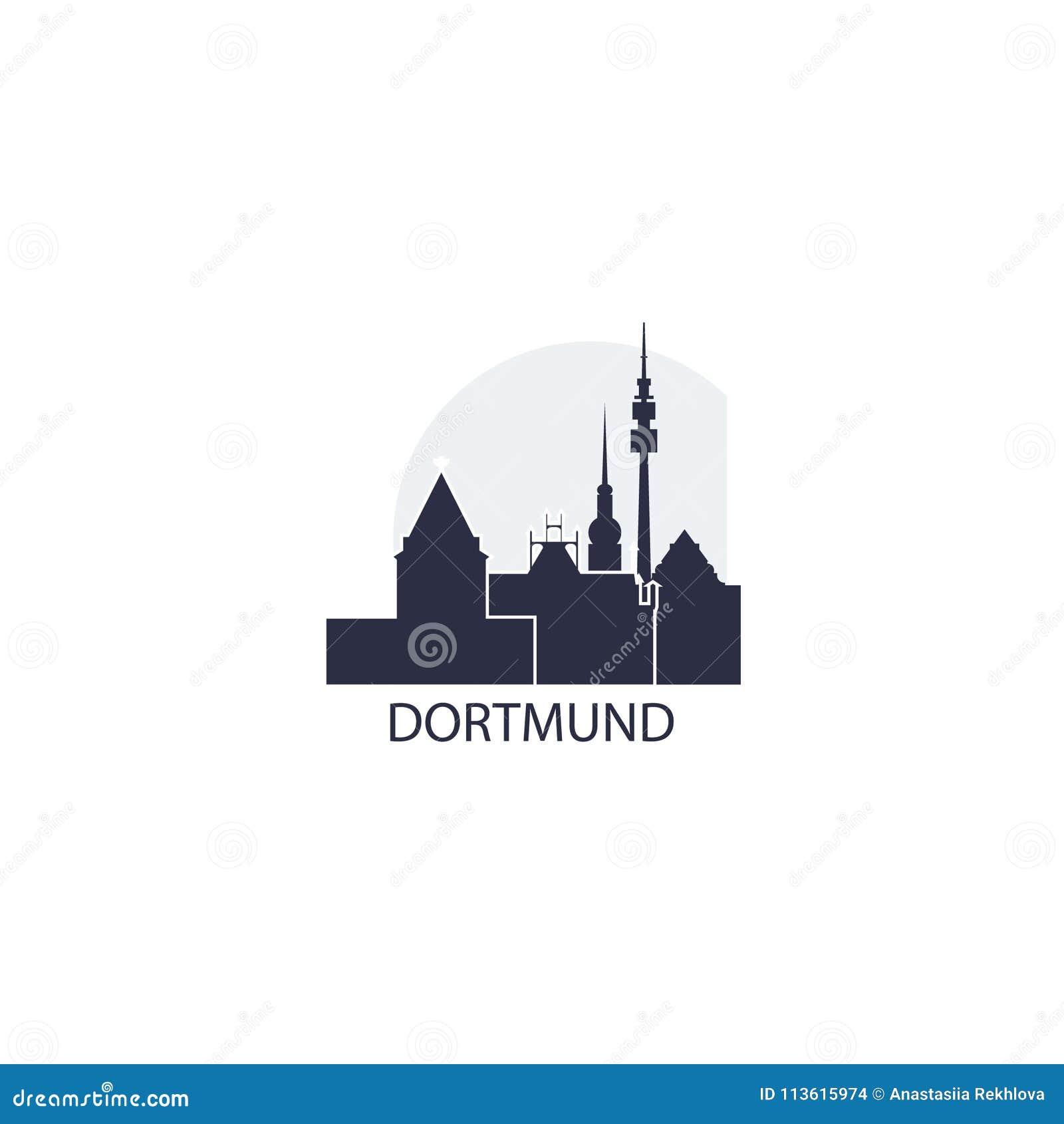 Dortmund City Cool Skyline Logo Illustration Stock Vector