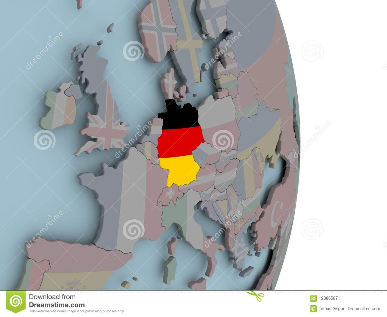 Map Of Germany On Political Globe With Flag Stock Illustration ...