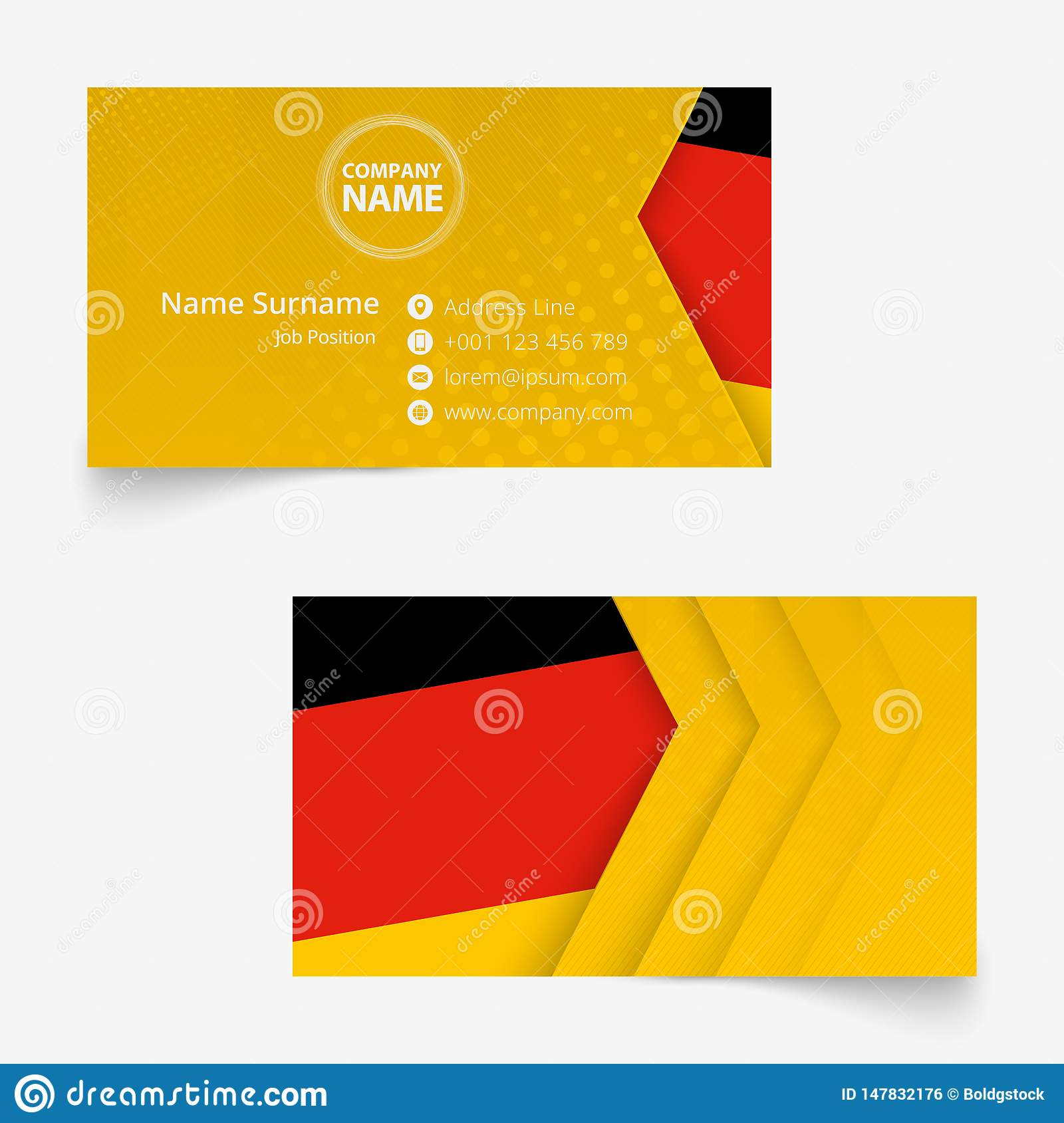 germany flag business card standard size 90x50 mm