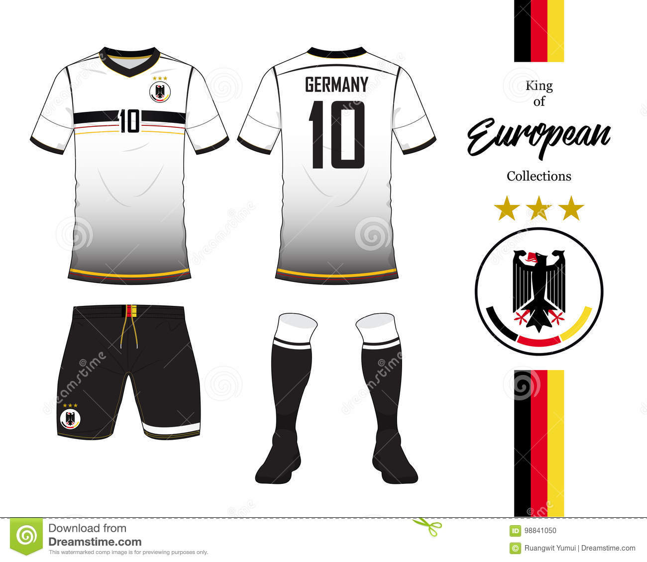 free shipping a9d52 37d9c Germany Football National Team Uniform. Stock Vector ...