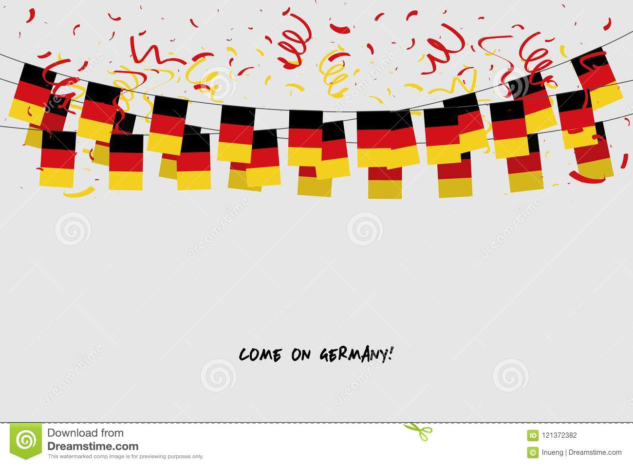 germany garland flag with confetti on gray background hang bunting