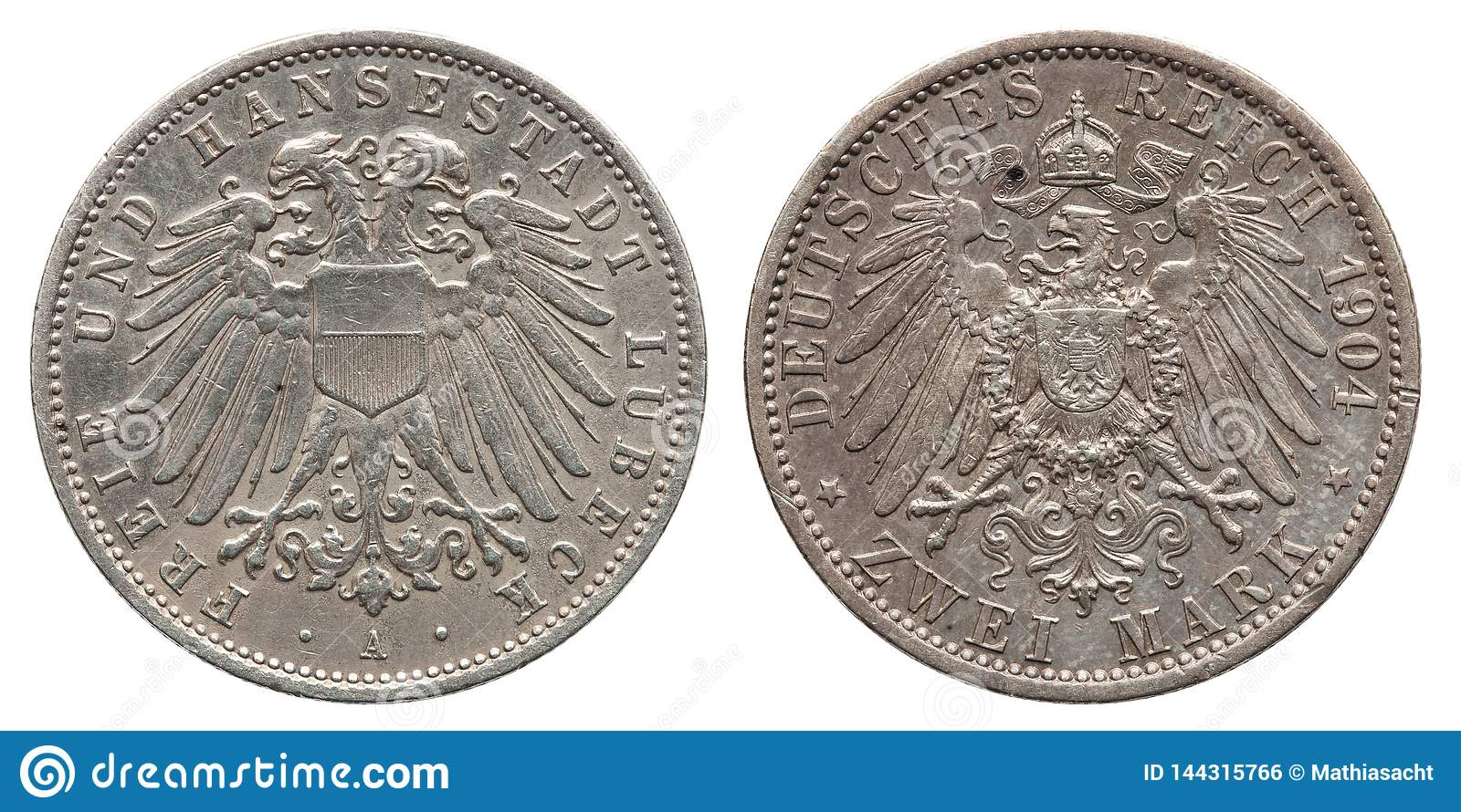 Germany German Lubeck silver coin 2 two mark 1904
