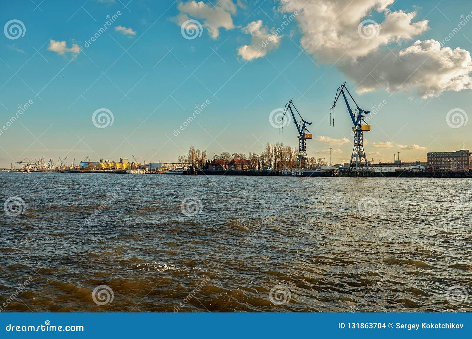 Germany. Port of Hamburg on the river Elbe. February 13, 2018