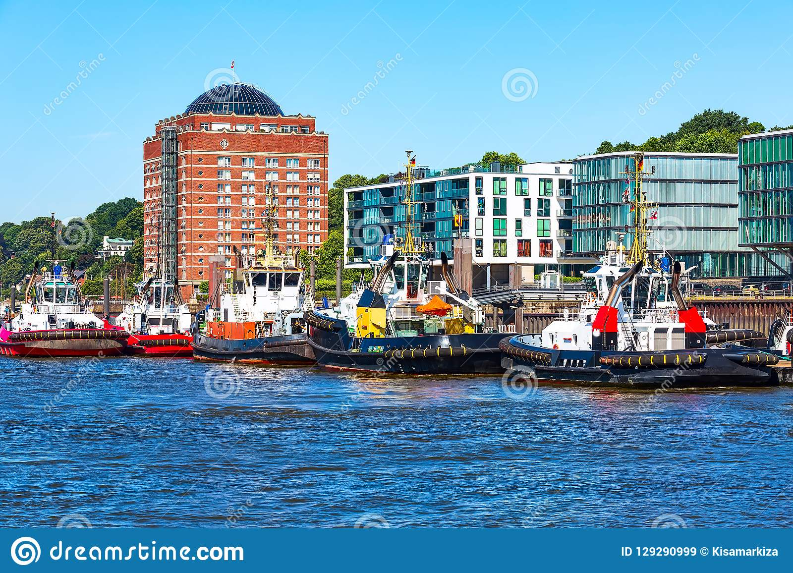 Germany, Hamburg skyline and river Elbe