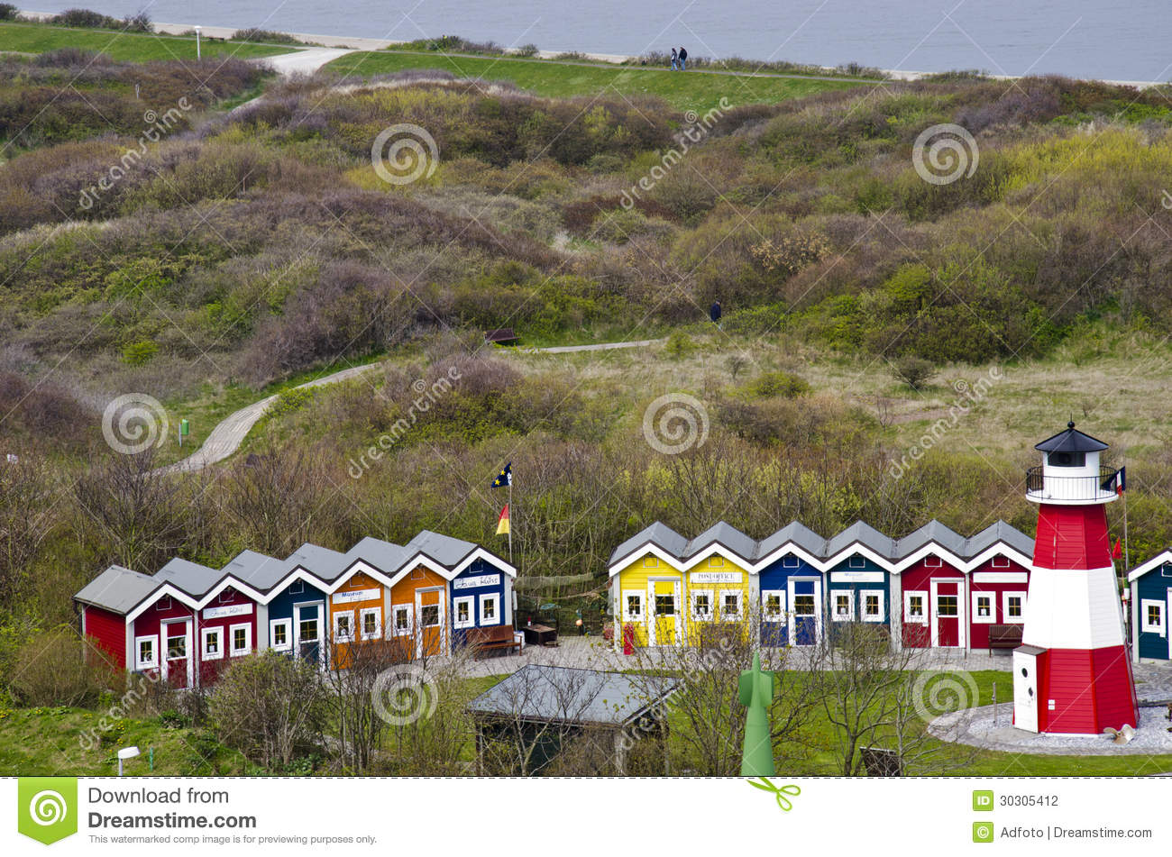 germany helgoland resort of cottages stock photo image of building grass 30305412. Black Bedroom Furniture Sets. Home Design Ideas