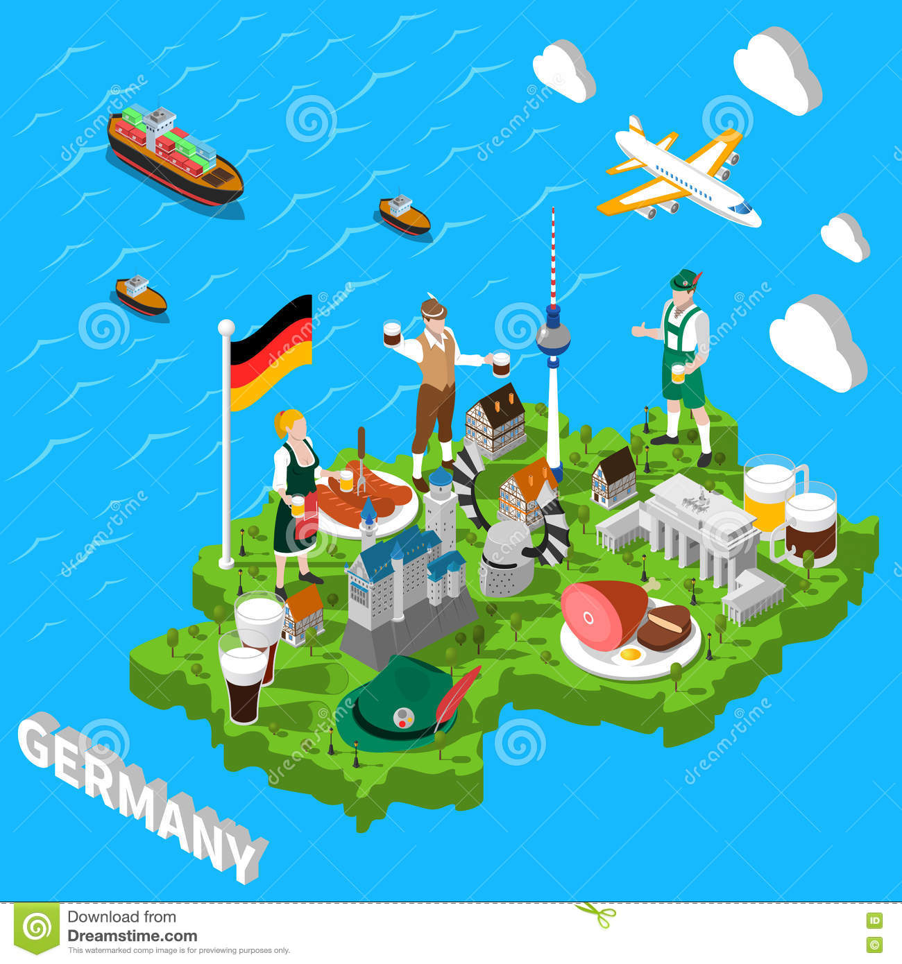 Germany Isometric Sightseeing Map For Tourists Vector – Germany Sightseeing Map