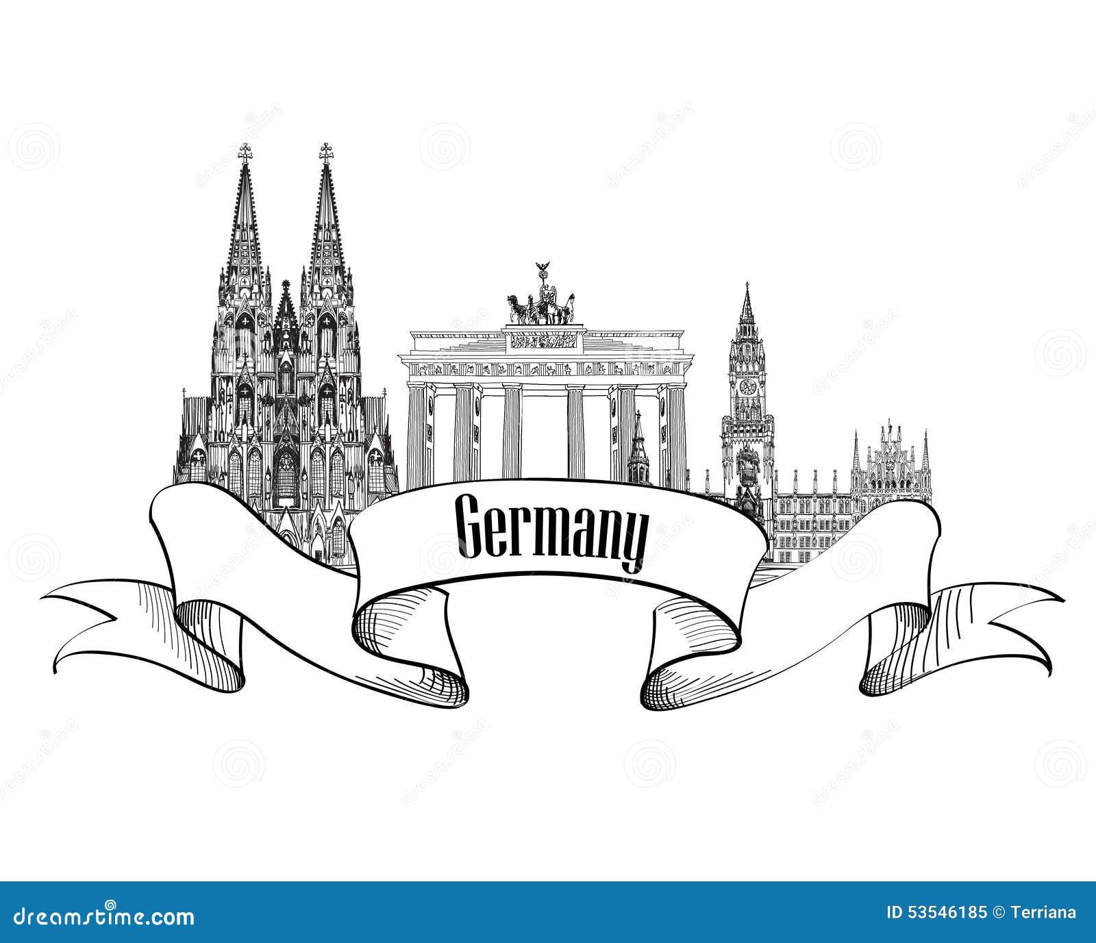 Germany Label  Travel German Cities Symbol  Famous German