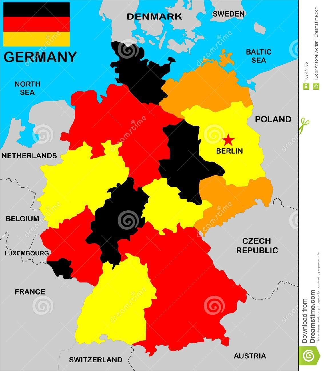 Germany Map Stock Illustration Illustration Of Neighbours 10744166