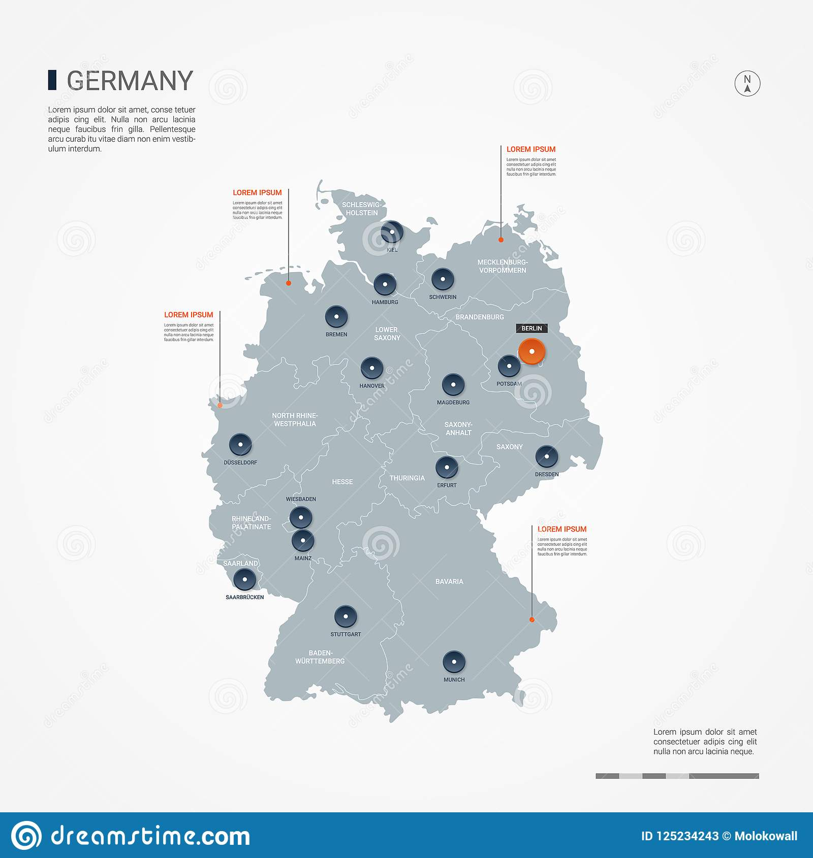 Capital Of Germany Map.Germany Infographic Map Vector Illustration Stock Vector