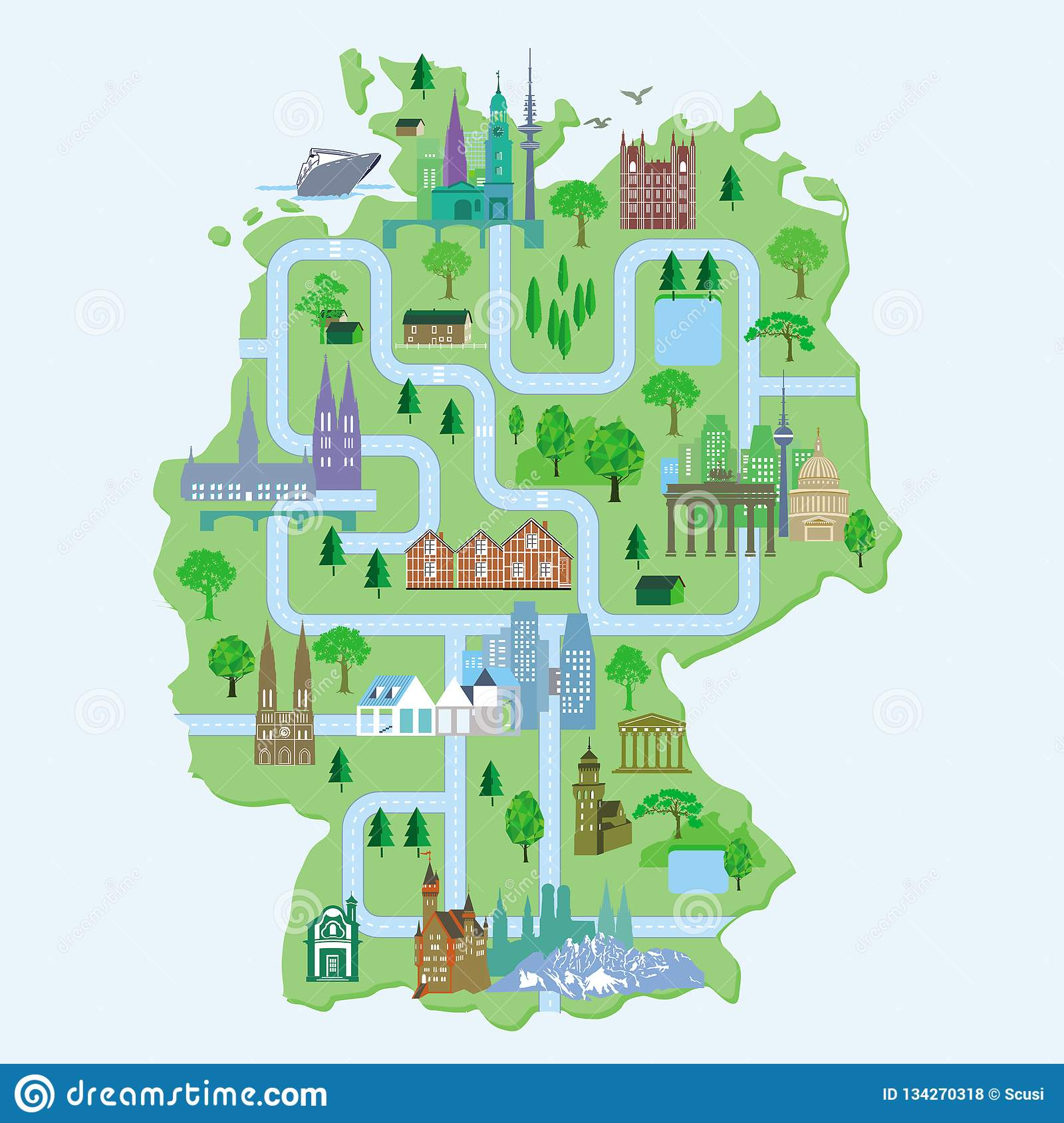 Germany Map Of Cities.Germany Map With Cities Stock Illustration Illustration Of Church