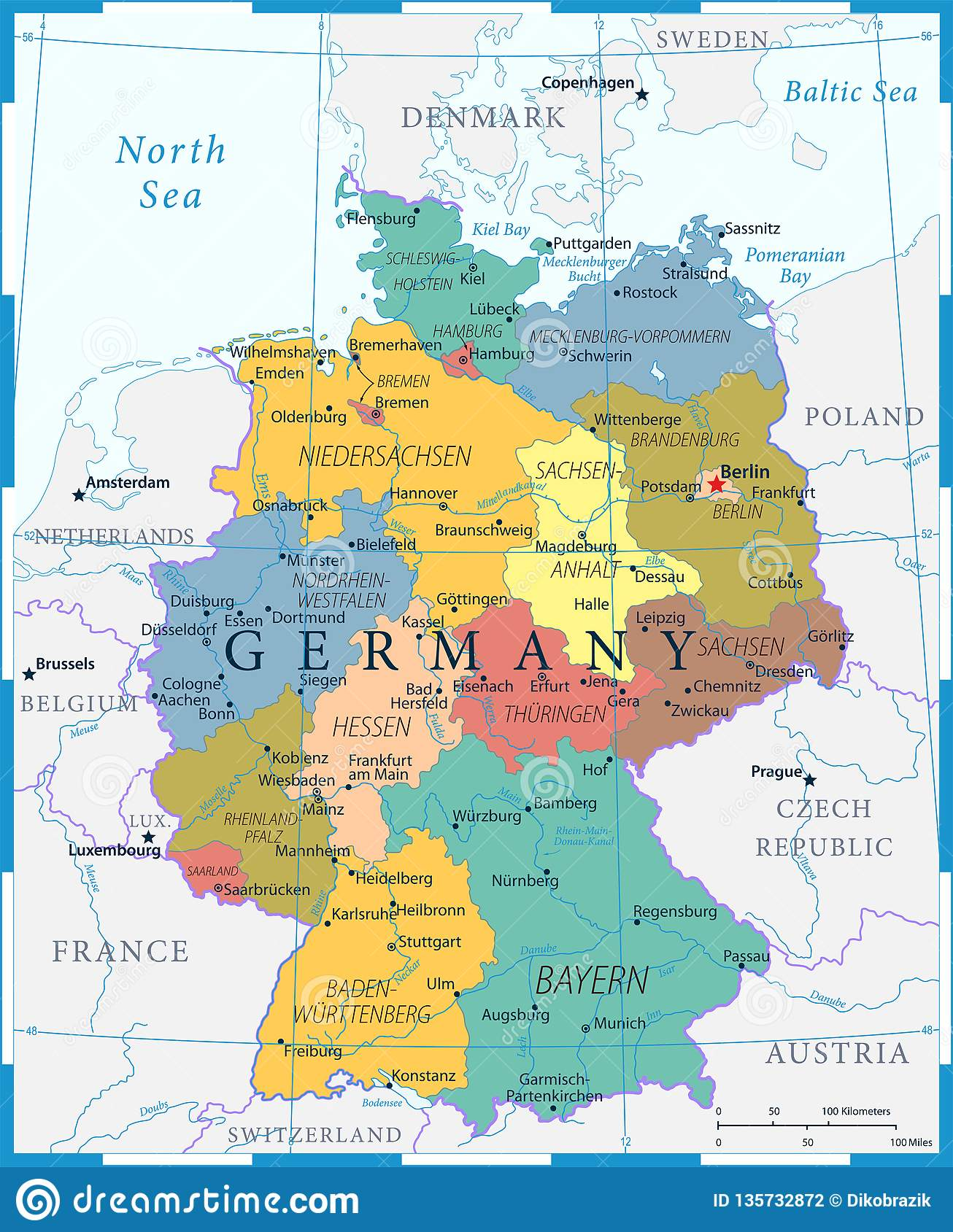 Germany Map - Color Grid - Highly Detailed Vector Illustration Stock