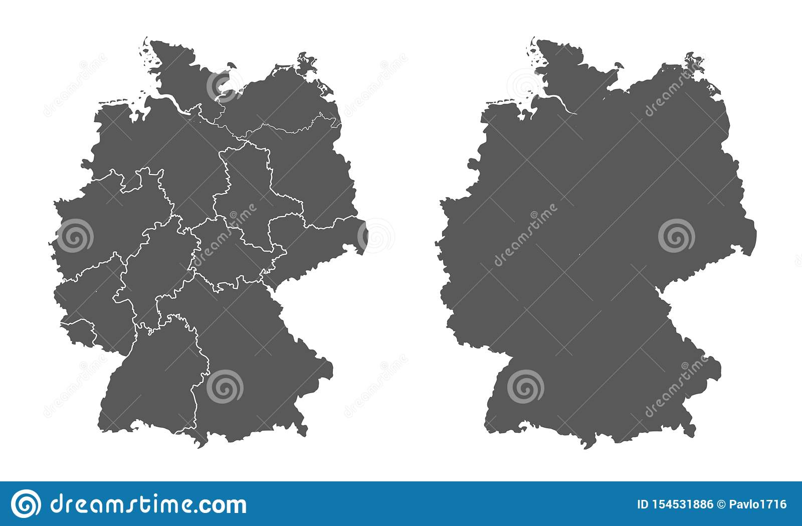 Germany Map With Division Into Federal Lands And Without ...