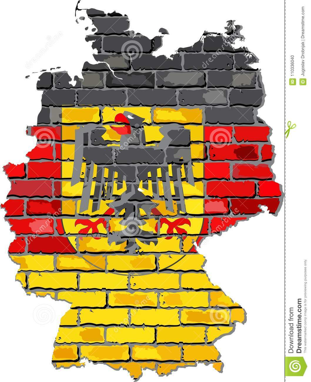 Map Of Deutschland Germany.Germany Map With Emblem On A Brick Wall Stock Vector Illustration