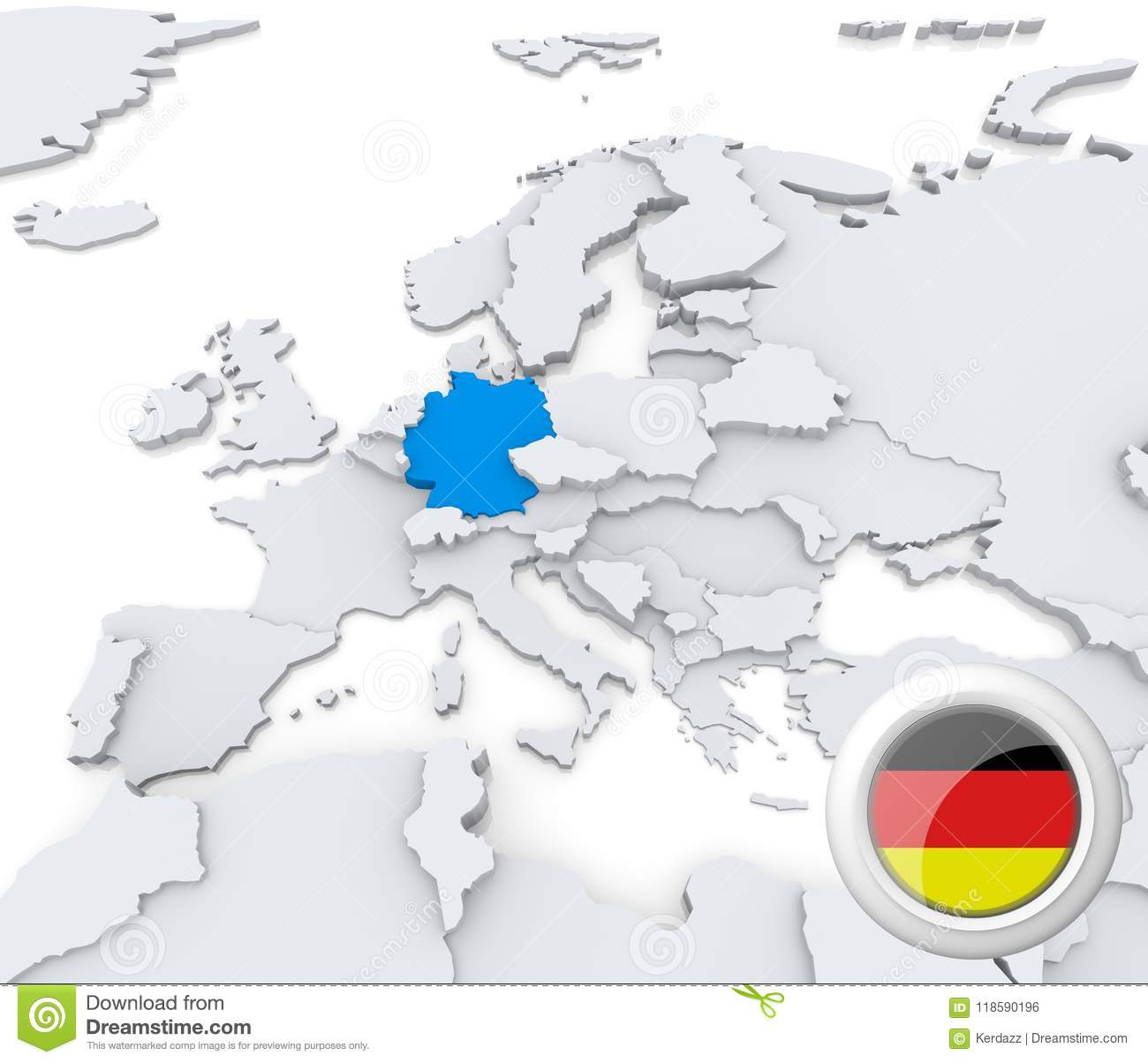 Map Of Europe With Germany Highlighted.Germany On Map Of Europe Stock Illustration Illustration Of Button