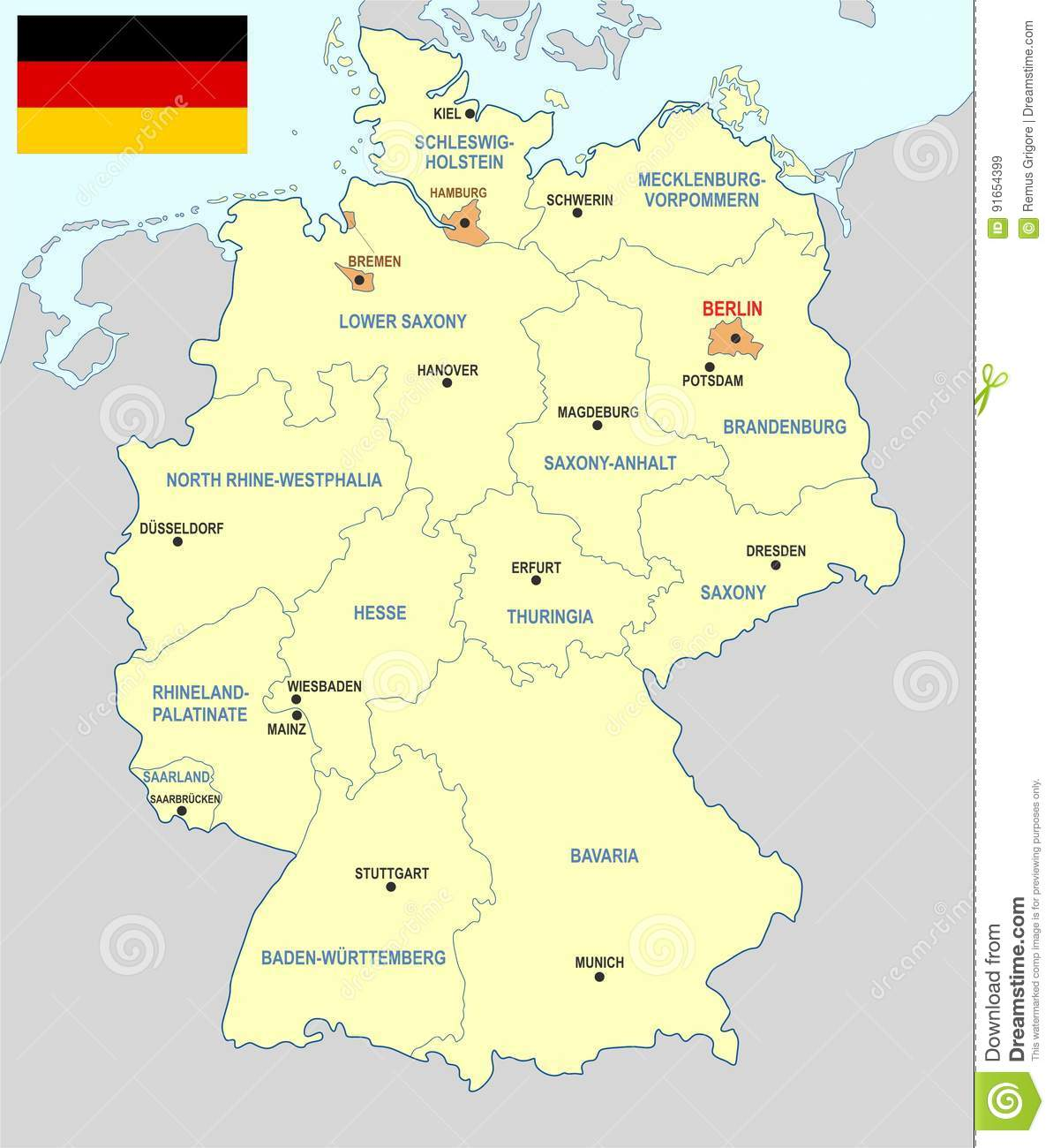 Map Of Germany With States And Cities.Germany Map Cdr Format Stock Vector Illustration Of