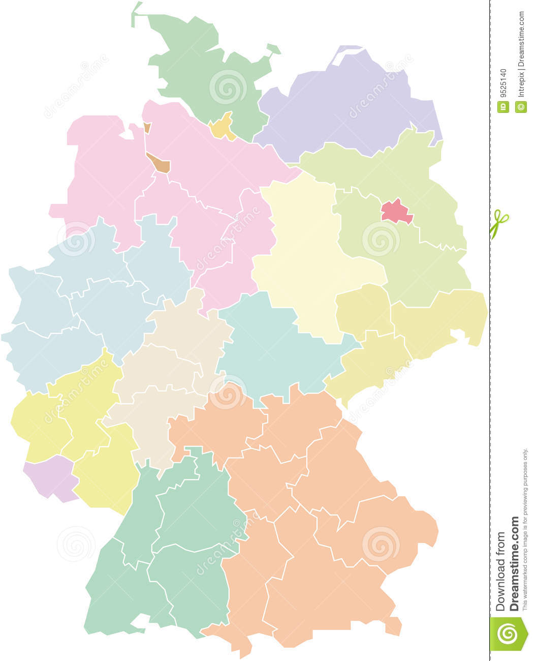 Regions Of Germany Map.Germany Map Federal States And Regions Stock Vector Illustration