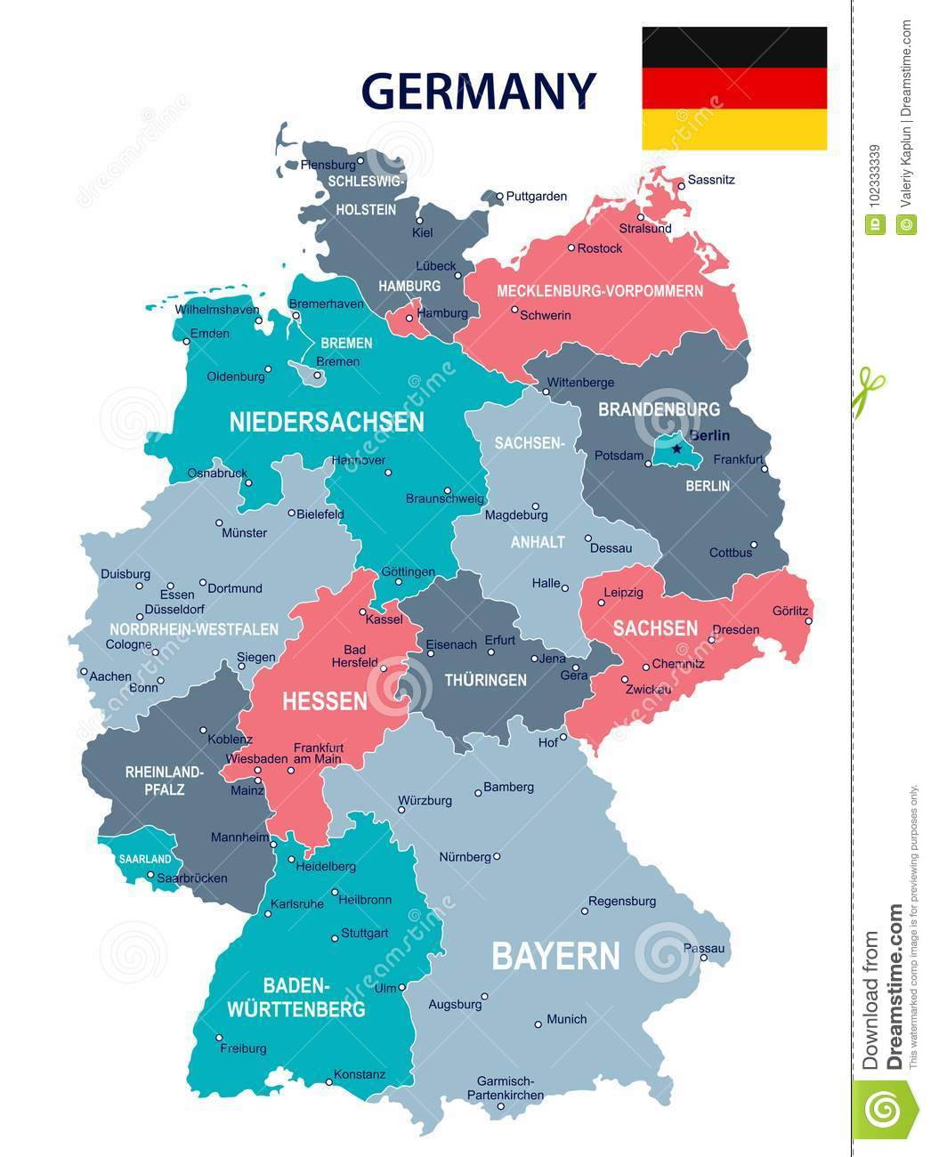 Germany - Map And Flag Illustration Stock Illustration ...