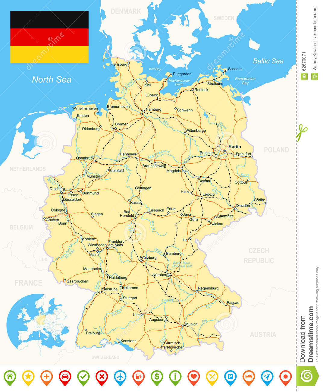 Map Of Germany With Rivers.Germany Map Flag Navigation Icons Roads Rivers Illustration