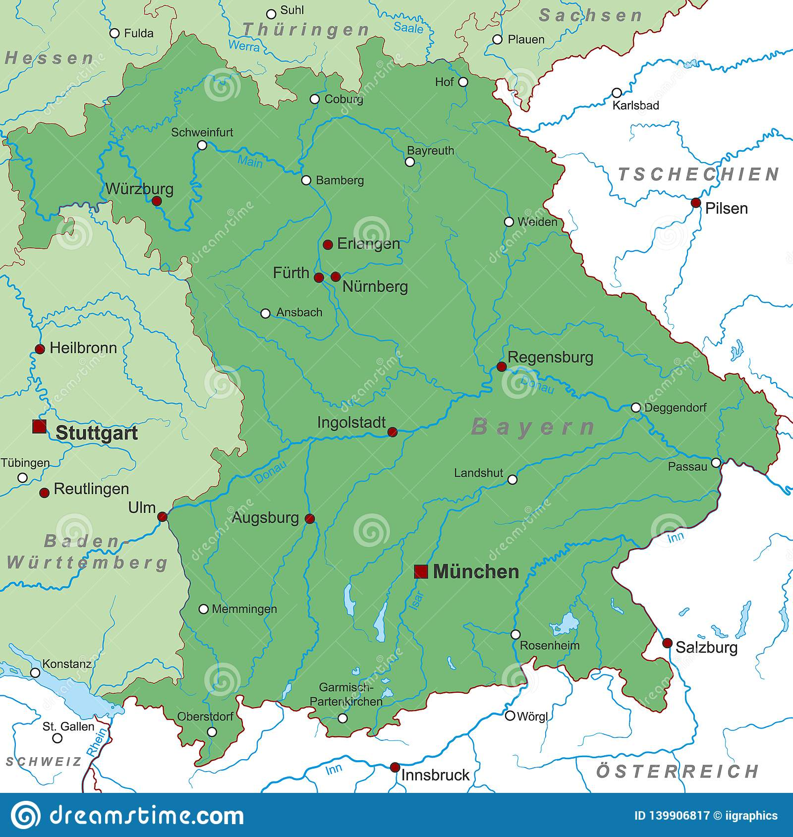 Dortmund On Map Of Germany.Germany Map Of Germany Bayern High Detailed Stock