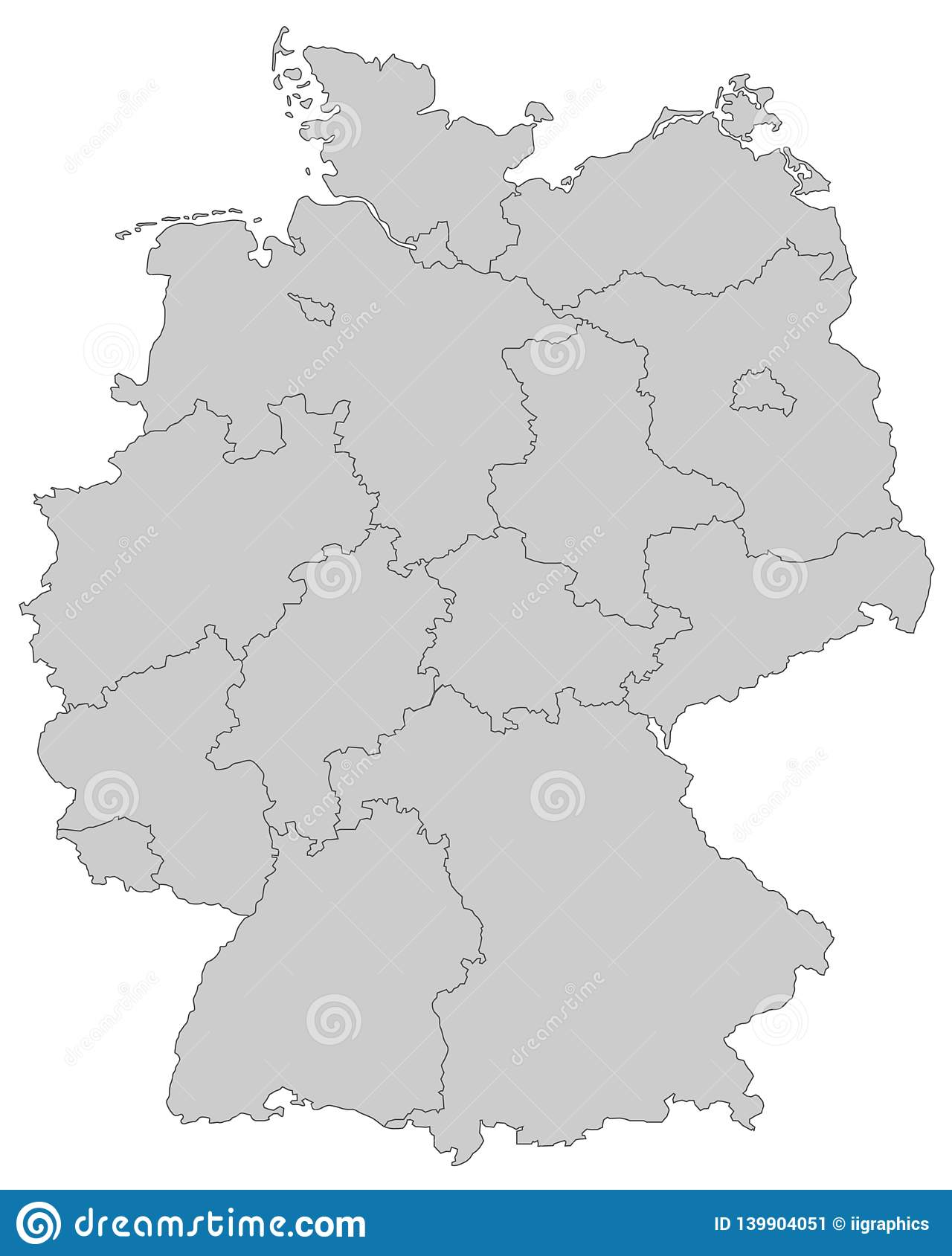 Germany Map Of Germany High Detailed Stock Illustration