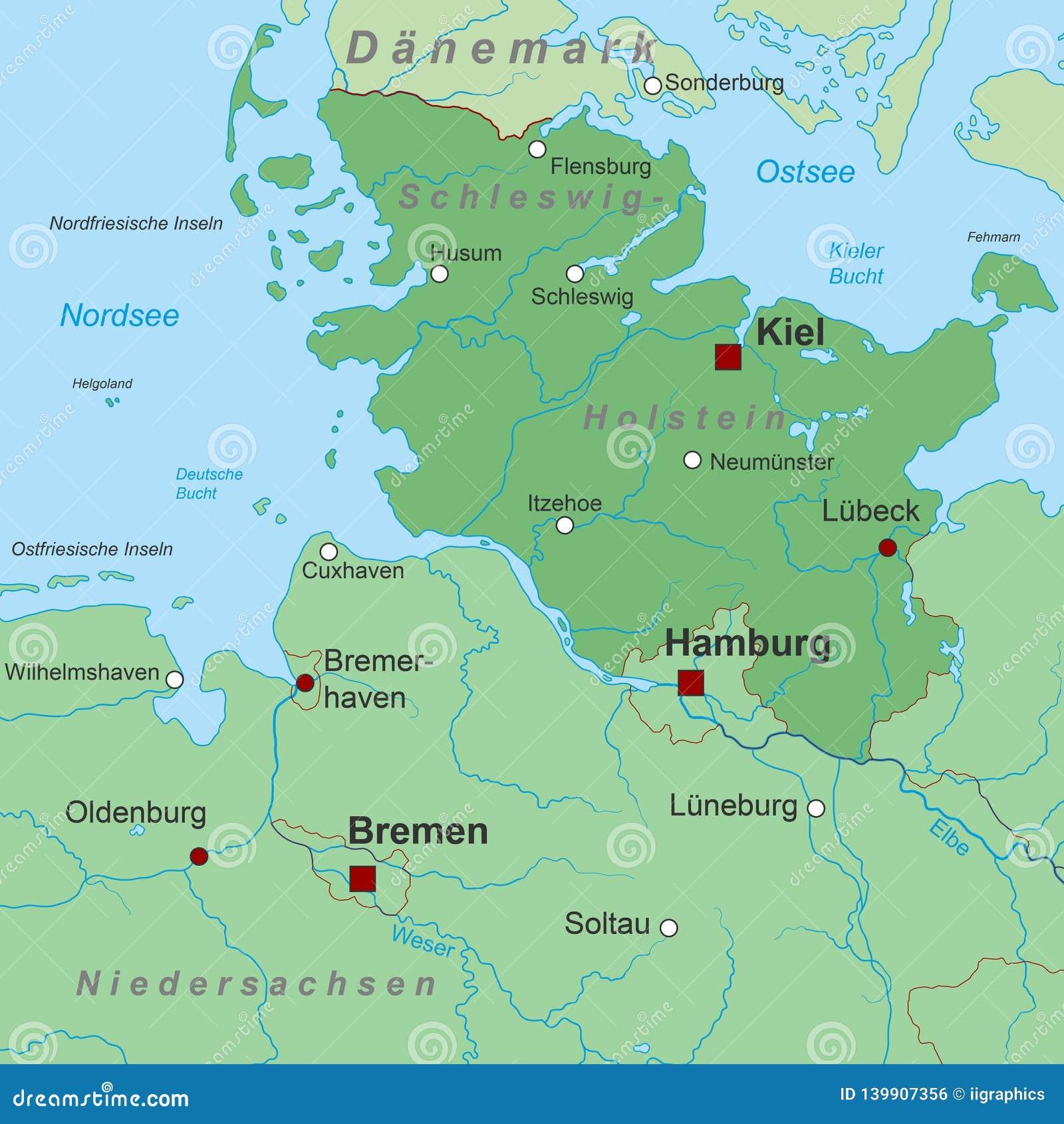 Germany Map Of Germany Schleswig Holstein High Detailed Stock Vector Illustration Of Frankfurt Inscription 139907356