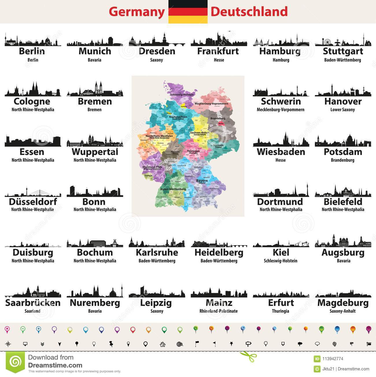 Germany Map With Largest Cities Skylines Silhouettes Vector ...