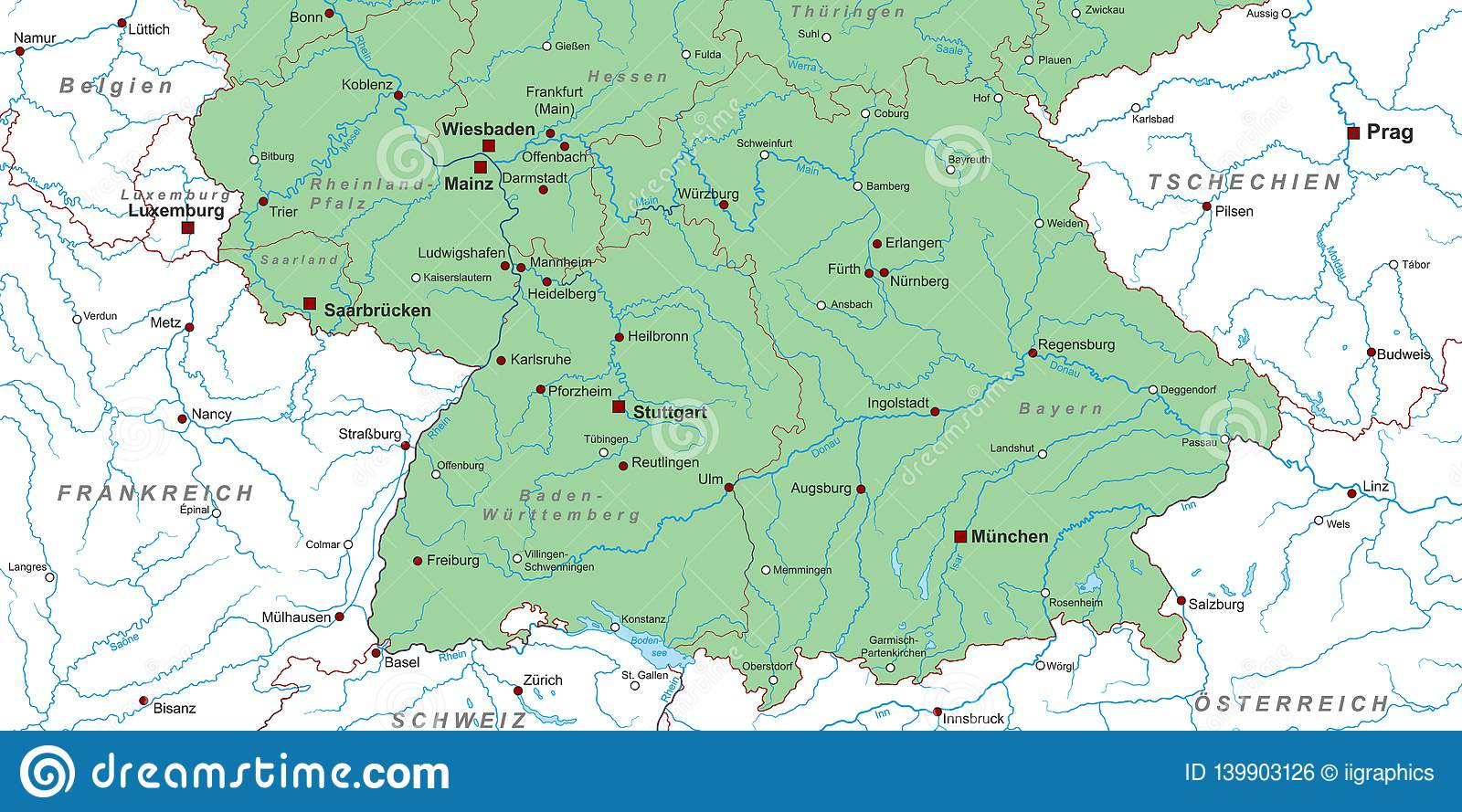 Germany - Map Of Southern Germany High Detailed Stock ...