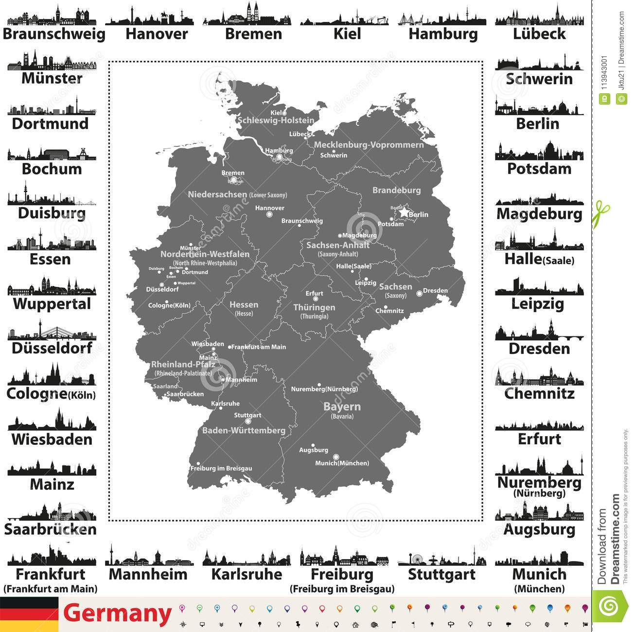 Germany Map With Cities And States.Germany Map With State Capitals And Largest Cities Skylines