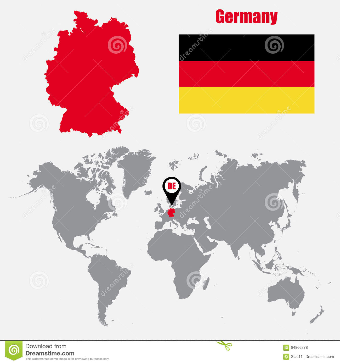 Germany On Map Of World.Germany Map On A World Map With Flag And Map Pointer Vector