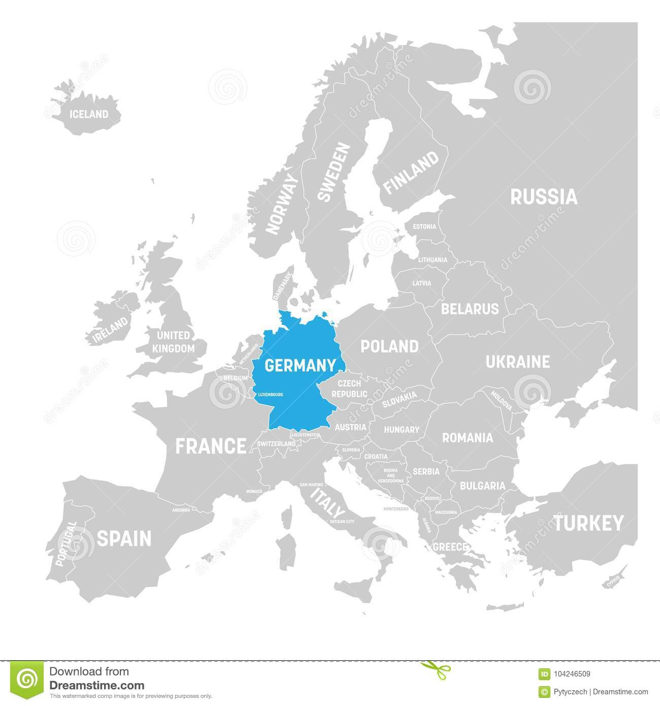 Map Of The World Germany.Germany Marked By Blue In Grey Political Map Of Europe Vector