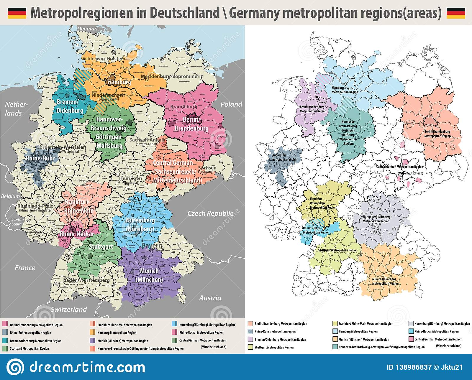 Map Of Germany Regions.Germany Metropolitan Regions Vector Maps Stock Vector Illustration