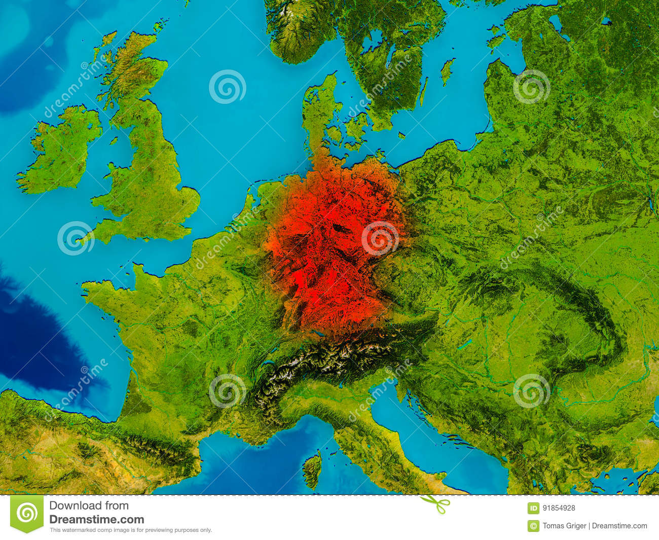 Germany On Physical Map Stock Illustration Illustration Of