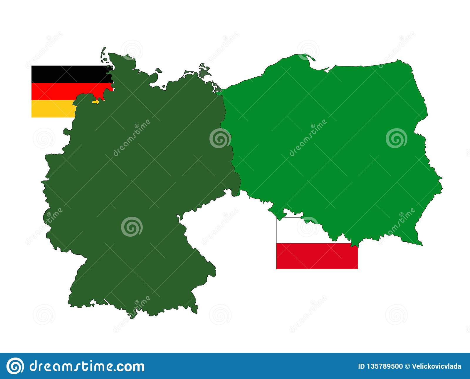 Germany And Poland Maps And Flags - Europe Countries Stock Vector ...