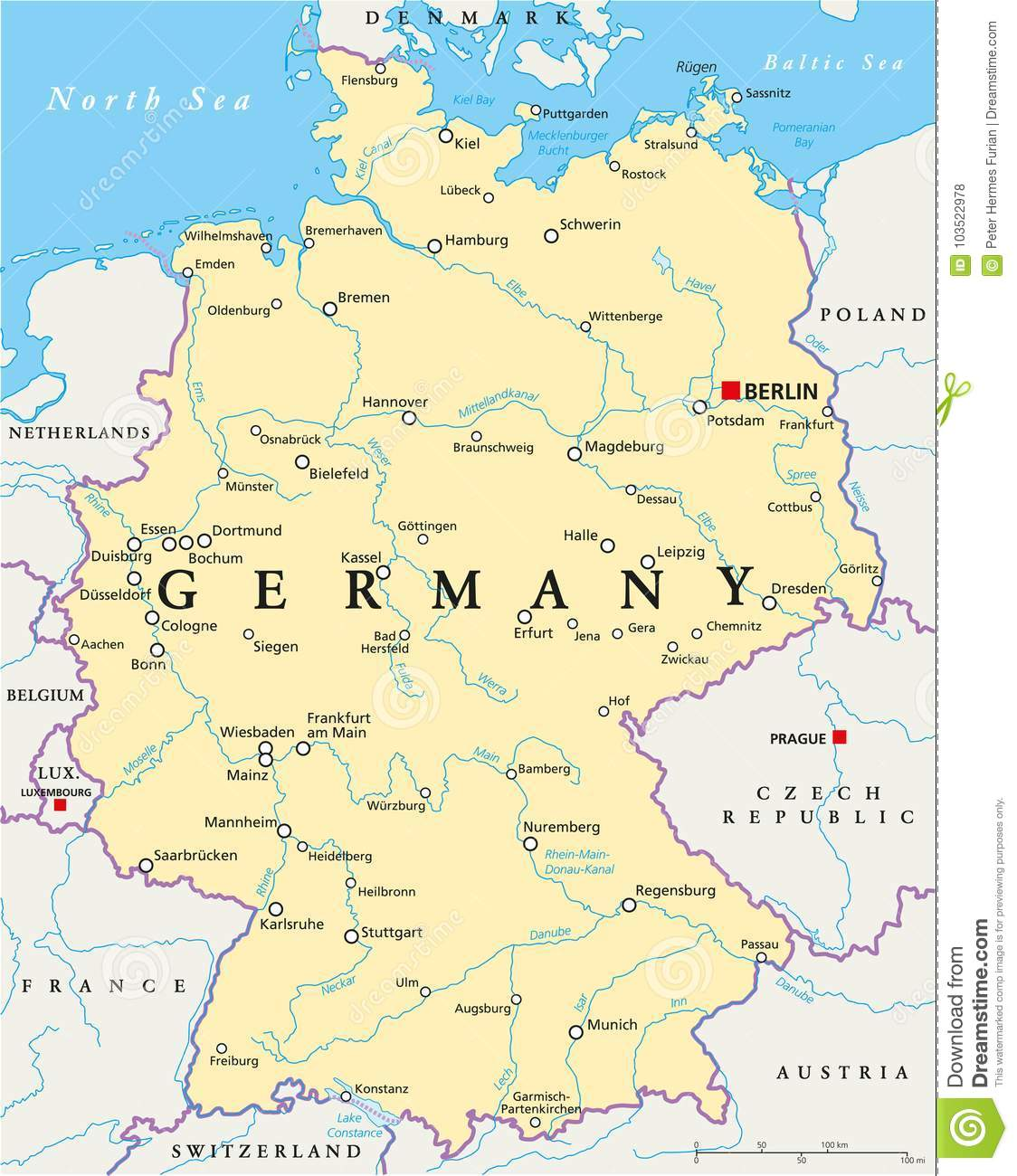 Berlin Map Of Germany.Germany Political Map Stock Vector Illustration Of Geography