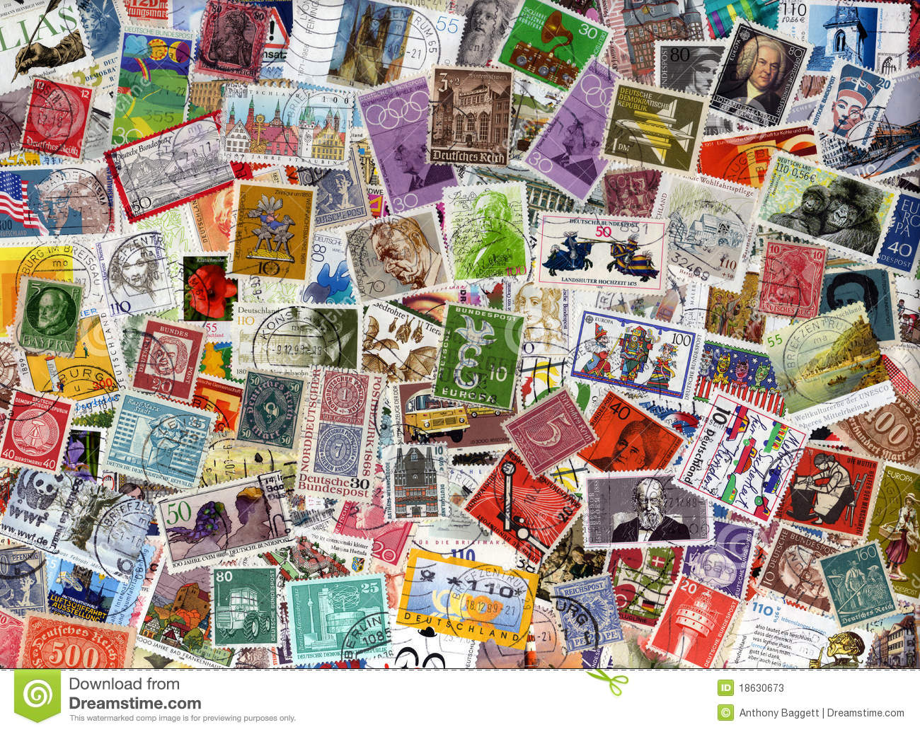 germany postage stamps background stock image image of antique