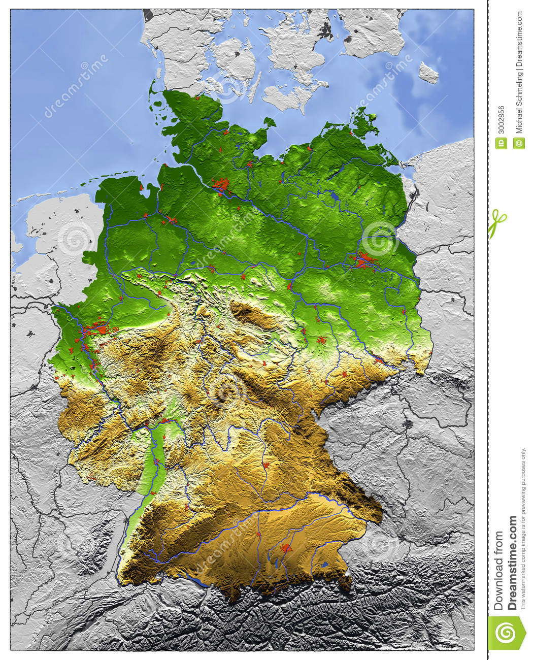 Germany, relief map stock illustration. Illustration of ...