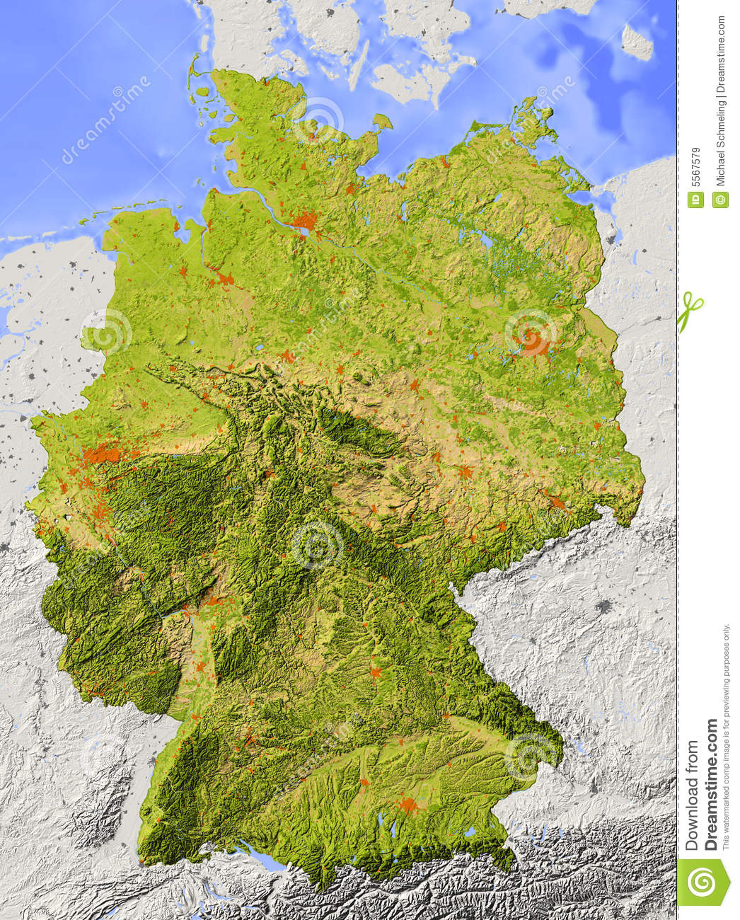 Topographical Map Of Germany.Germany Relief Map Stock Illustration Illustration Of Atlas 5567579