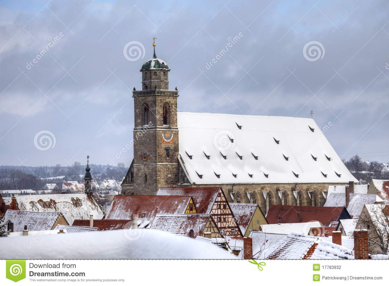 White Christmas In Germany.Germany Romantic Road Town Dinkelsbuhl Stock Photo Image