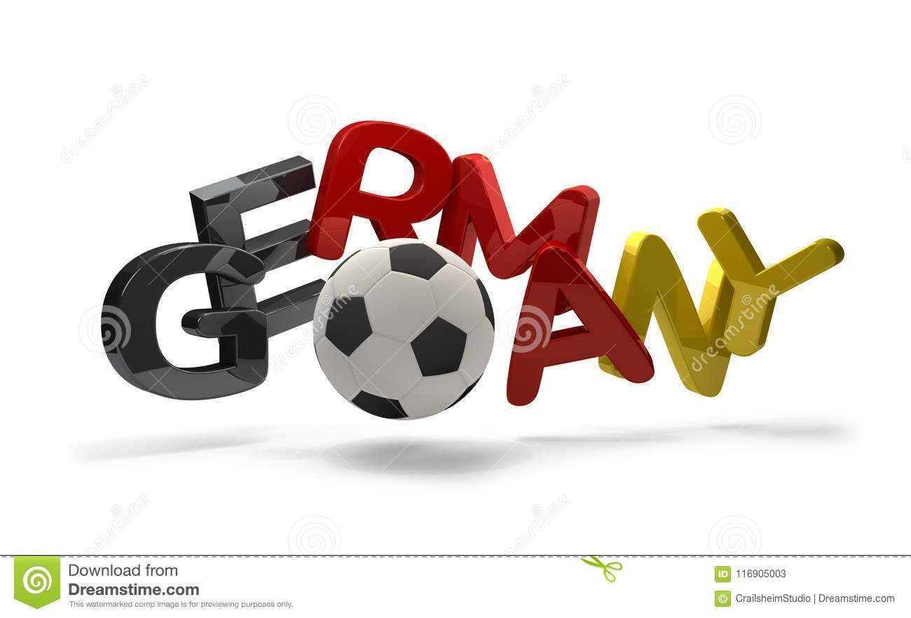 Germany Soccer Football 3d Rendering Symbol With Soccer Ball Stock
