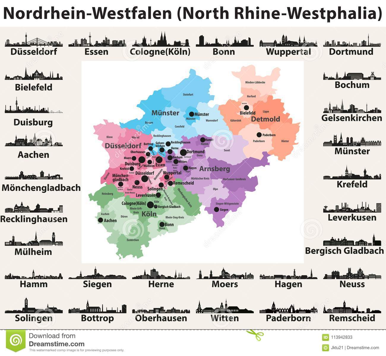 Germany Map With Cities And States.Germany State North Rhine Westphalia High Detailed Vector Map With