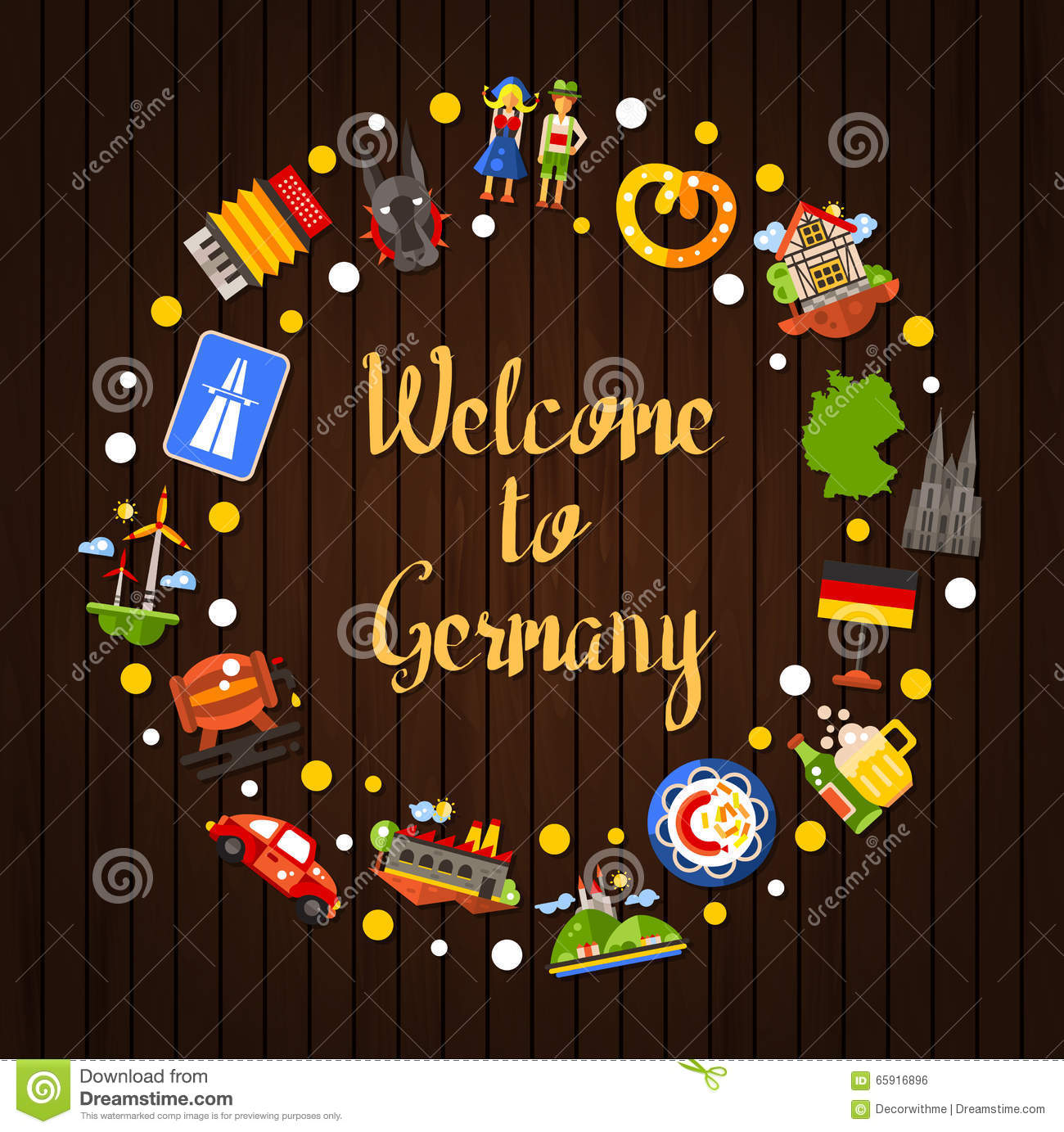 I Want To Visit Germany In German: Germany Travel Circle Postcard With Famous German Symbols