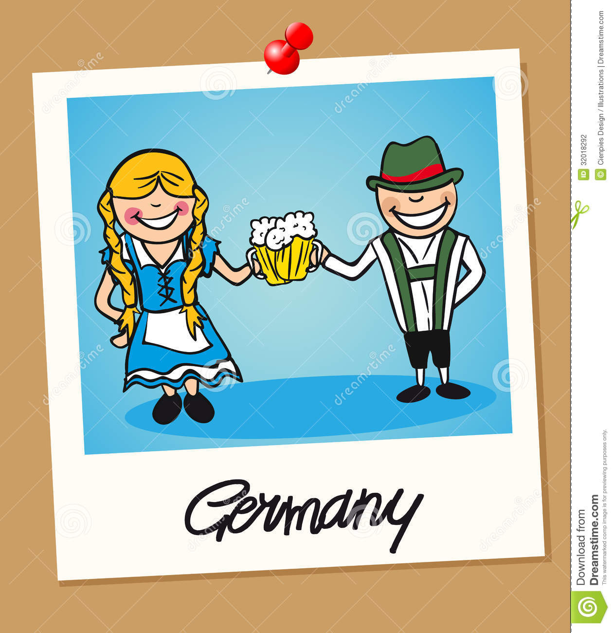 I Want To Visit Germany In German: Germany Travel Polaroid People Stock Vector