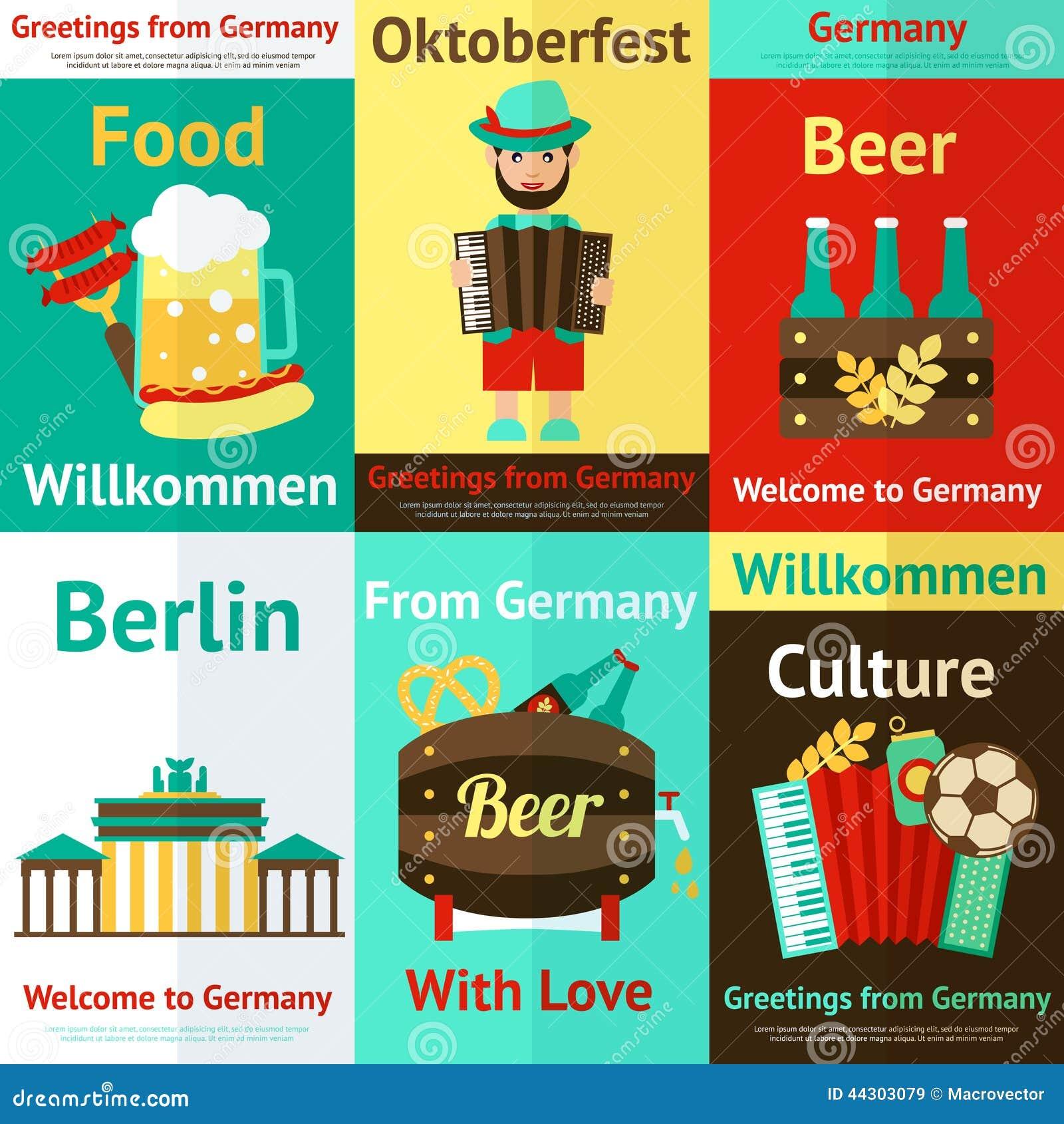 germany travel retro poster set stock vector image 44303079 food web diagram #2